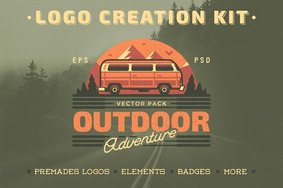 Outdoor Adventure Logo Creation Kit Vector