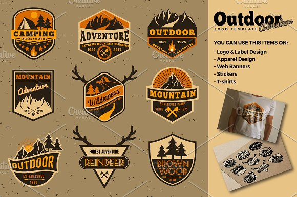 Outdoor Customizable Adventure Sticker Designs