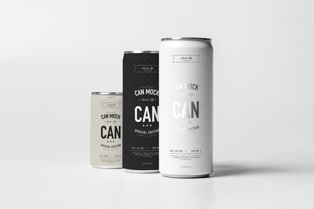 Pack of 3 Energy Drink PSD Mockup
