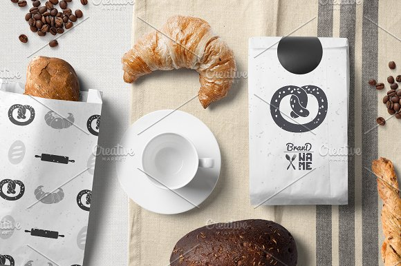 Pack of 4 PSD Bakery File Mockup