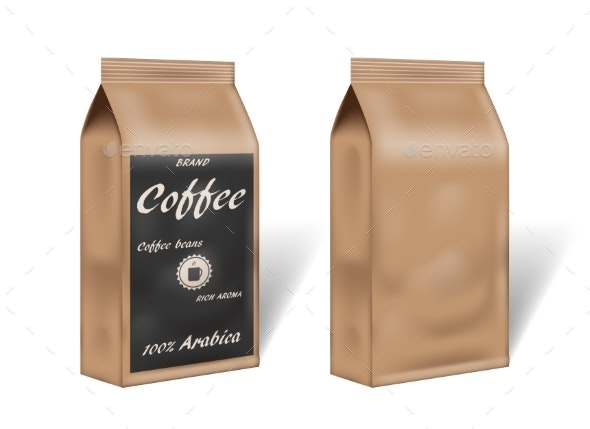Paper Arabica Coffee Package Design Mock Up