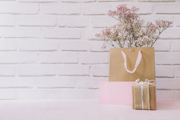 Paper Bag With Flower On It Free Photo
