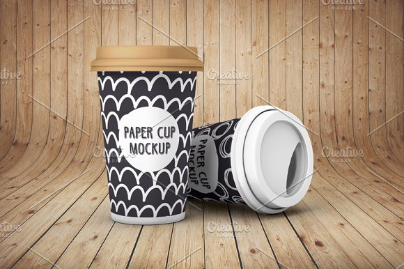 Paper Cups on Wooden Platform Mockup