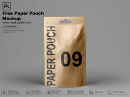 Free Paper Pouch Mockup PSD Template