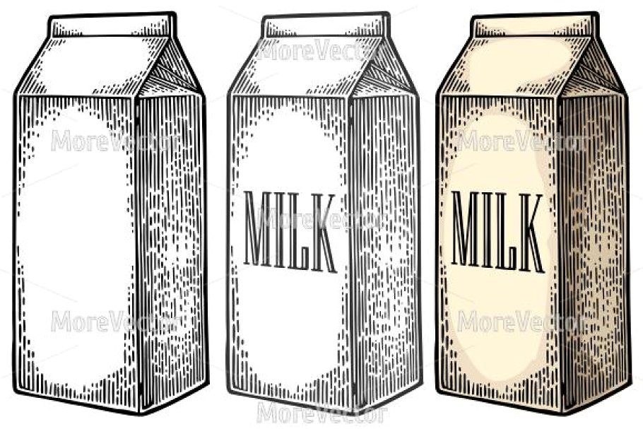Pencil Sketch Of A Milk Carton Design Image In Vector Format