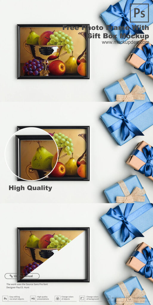 Free Photo Frame With Gift Box Mockup PSD Template