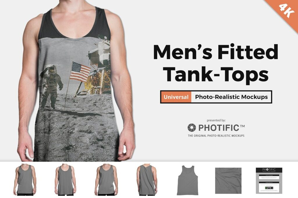 Photorealistic Men's Fitted Tank Top Mockup