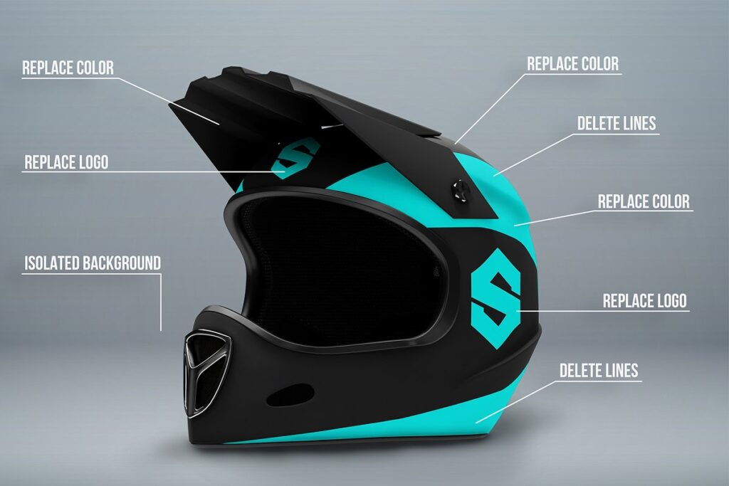 Picture Describing Full face Helmet PSD Template