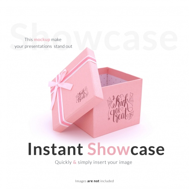Pink Color Open Gift Packaging Box Mockup