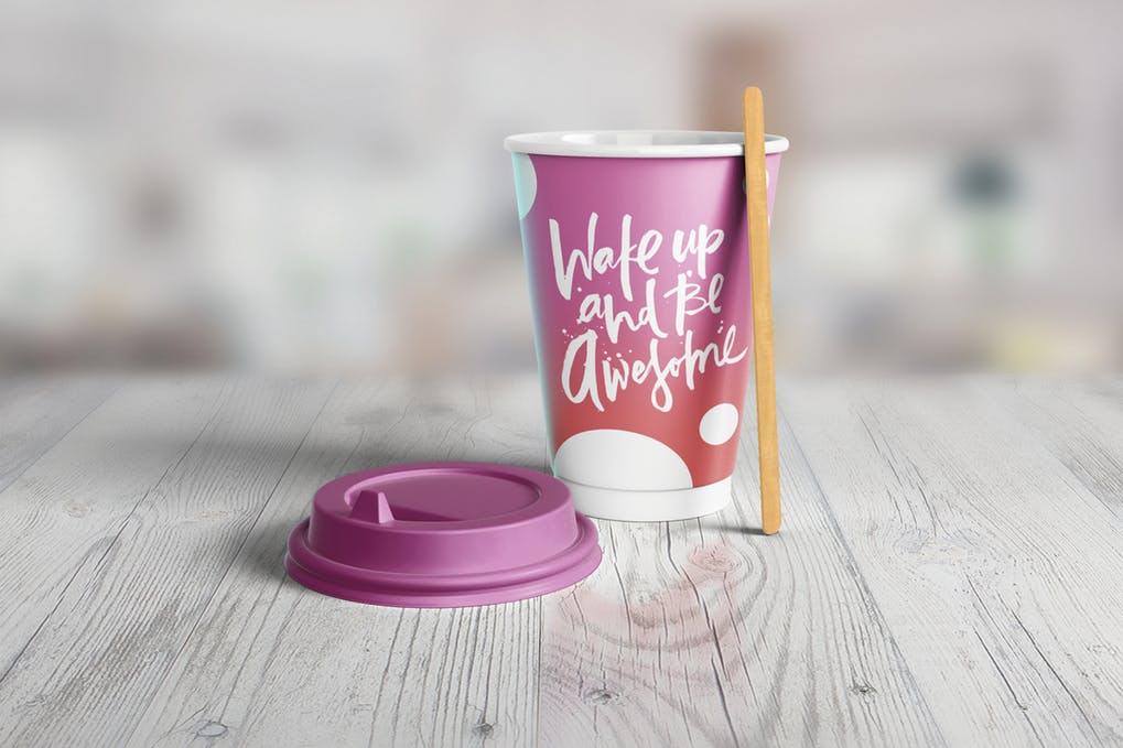 Pink Quotes Written Paper Cup PSD Design