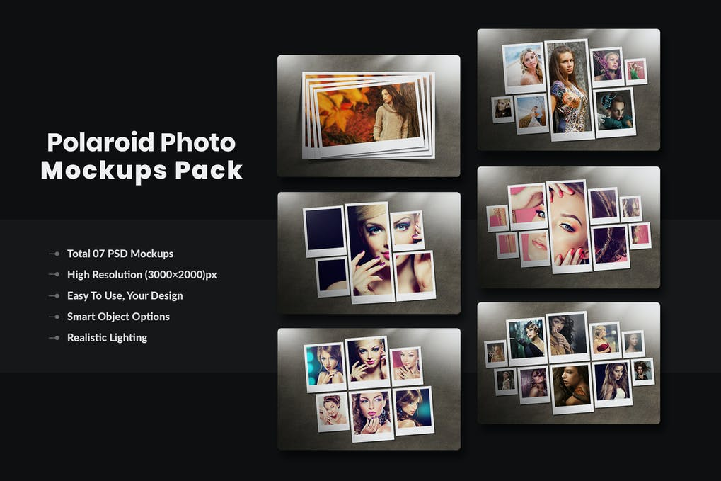 Polaroid Photo Mockups Pack