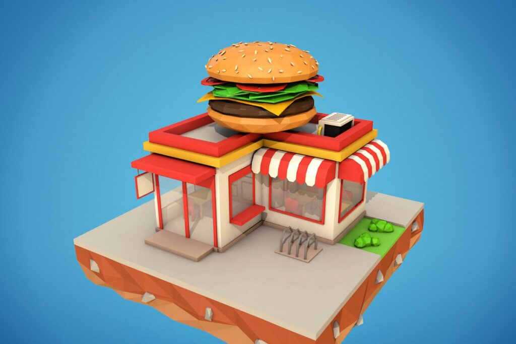 Poly Burger Box Vector.