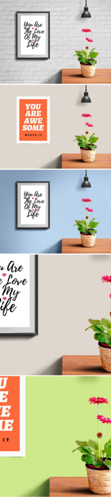 Poster Hanged On Brick Wall Template