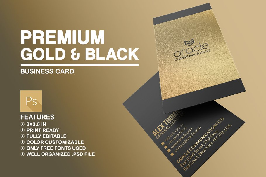 Premium Golden And Black Business Card In PSD File Format