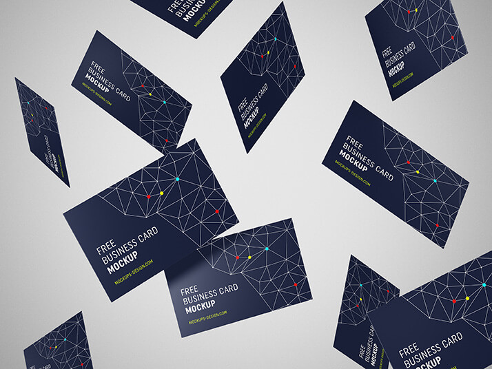 Printed Flying Business Card Mockup