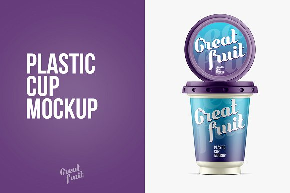 Purple Plastic Cup for Yogurt PSD Template