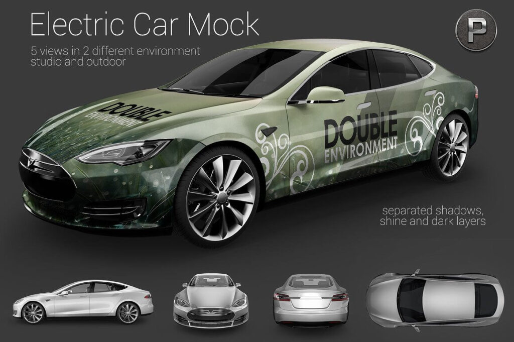 Racing Electric car Mockup.