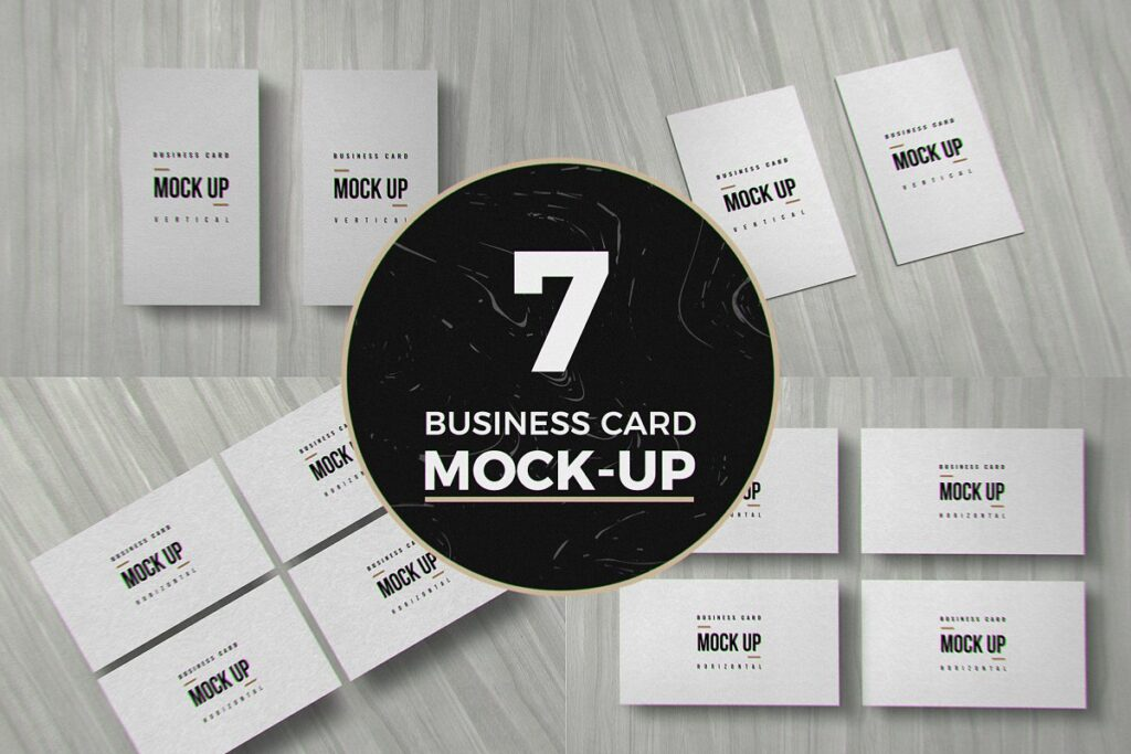 Realistic A4 Size Business Card Mockup