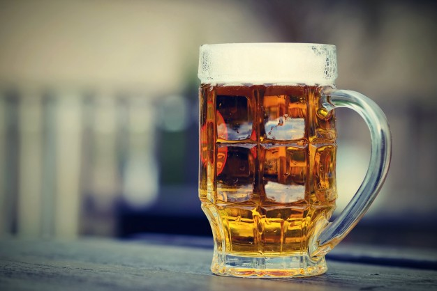 Realistic Blur Background Beer Glass Illustration