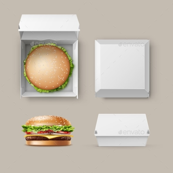 Realistic Burger Container.