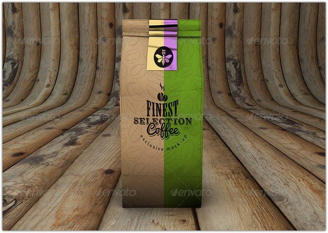 Realistic Coffee Packaging Bag Mockup Design