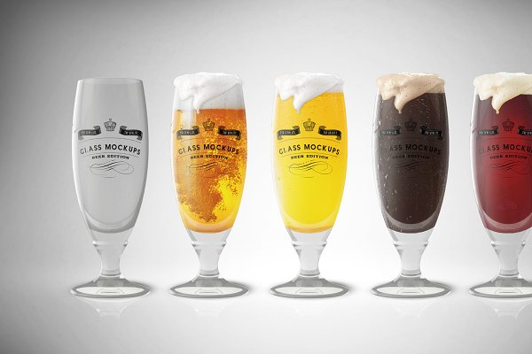 Realistic Five Beer Glasses In Different Colors Mockup PSD