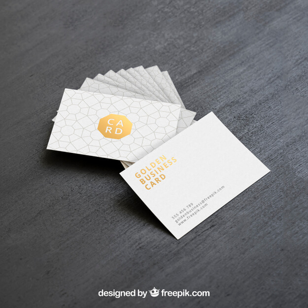 Realistic Free Golden Business Card Mockup