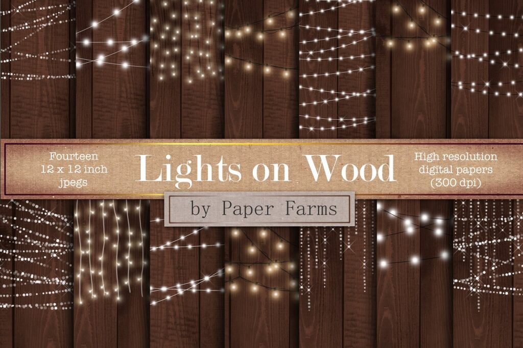 Realistic Lights Decorated On Wooden Wall PSD