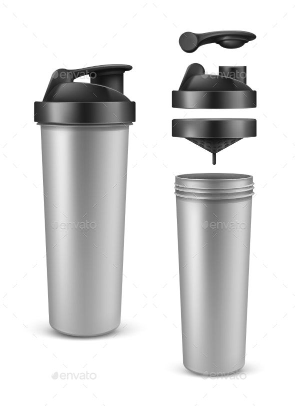 Realistic Silver Empty Protein Bottle Mixer