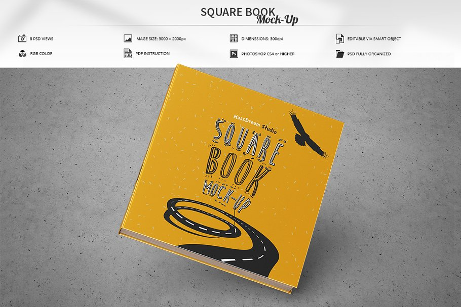 Realistic Square Book Design PSD Template