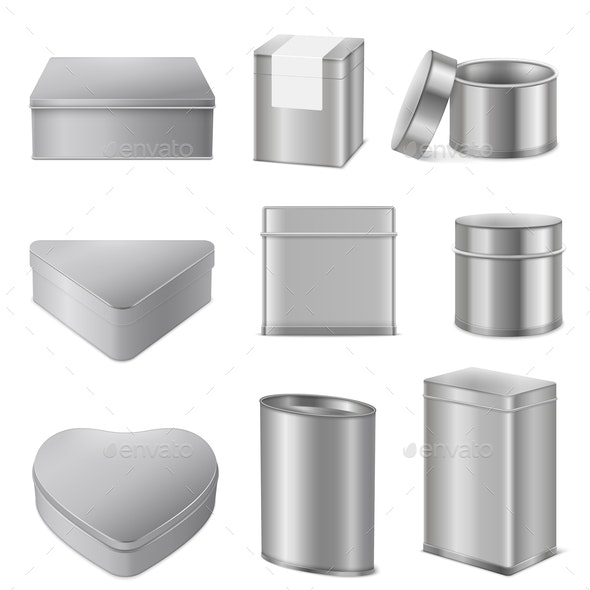Realistic Tin Boxes Packaging Set