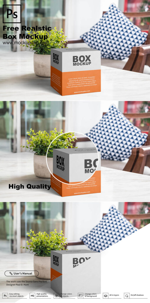 Free Realistic Box Mockup PSD Template
