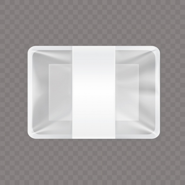 Rectangle Shape White Color Foil Paper Made Lunch Box Vector Format