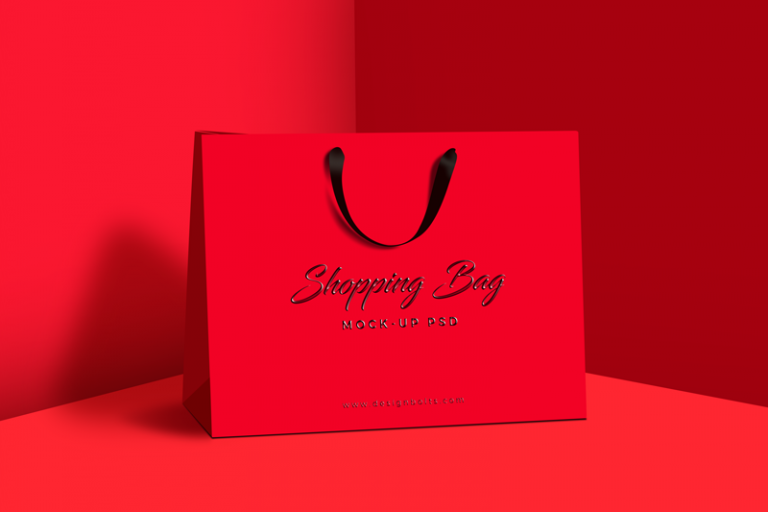 Red Attractive Design Shopping Bag Mockup
