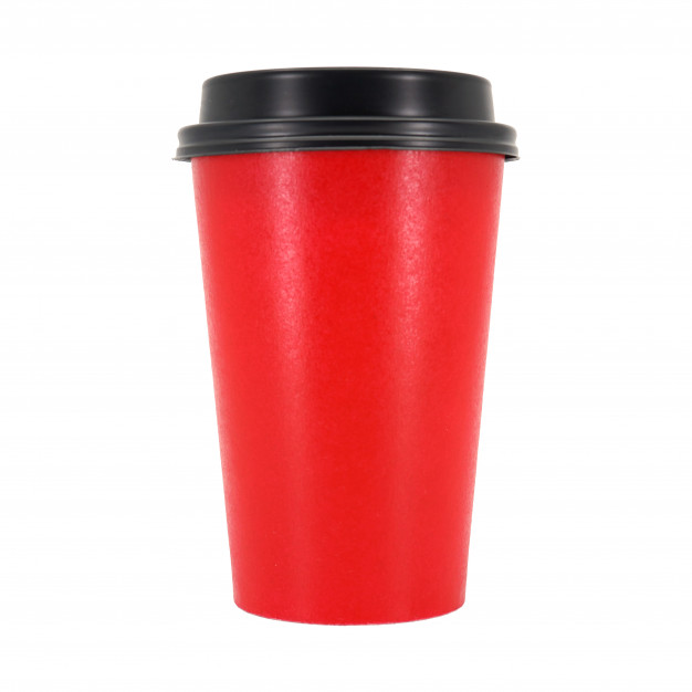 Red Coffee Cup In White Background PSD Template