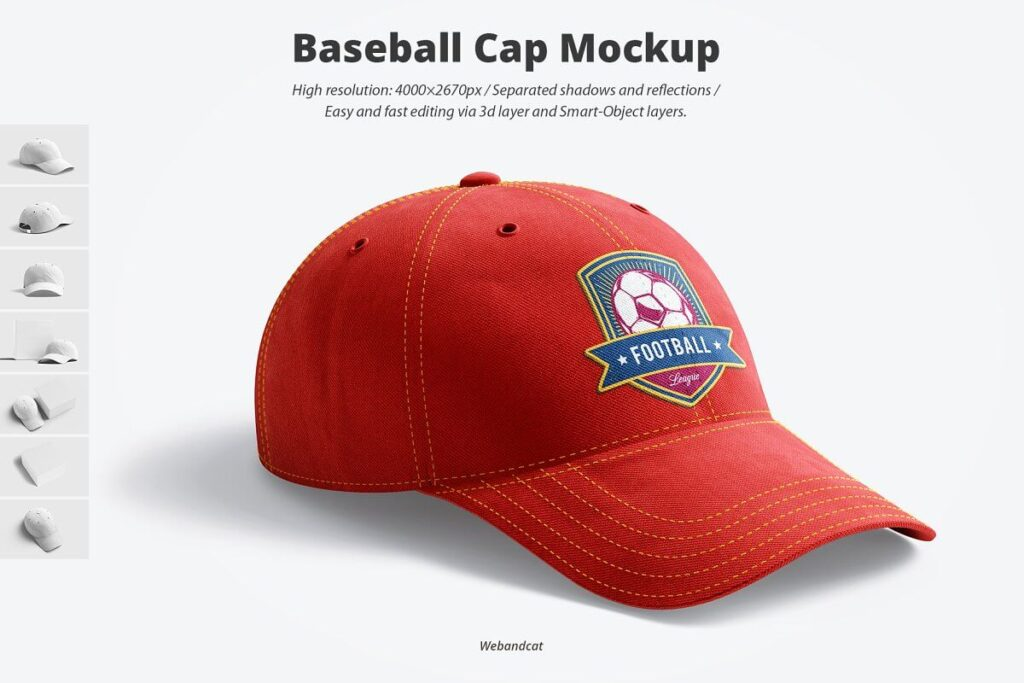 Red Color Baseball Cap Mockup