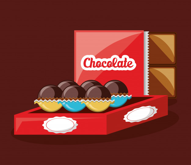 Red Color Chocolate Packing Wrapper Vector File Illustration