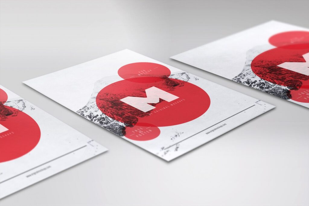Red Color Circle Printed Flyer Illustration