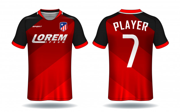Red Color Front And Back View Of Soccer T-Shirt Mockup