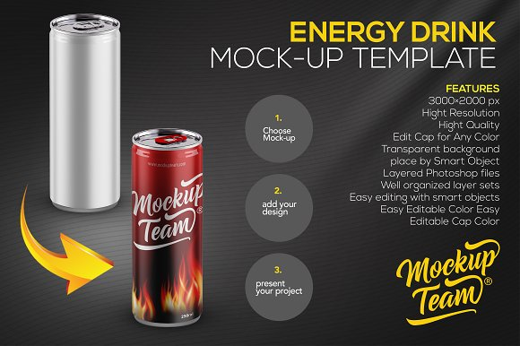 Red Energy Drink Can PSD