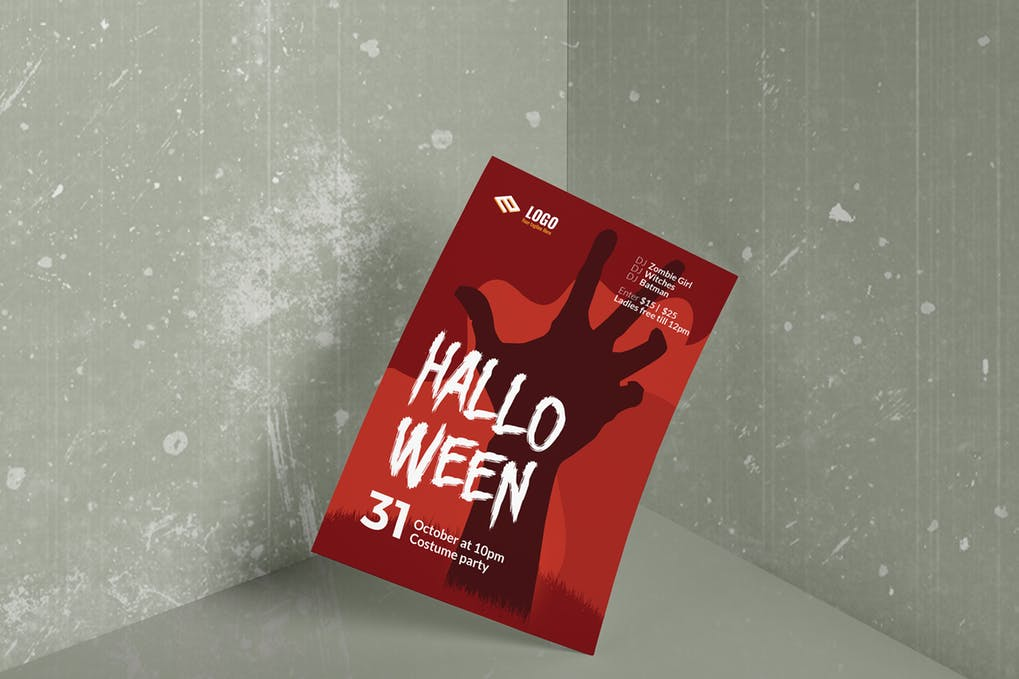 Red Halloween Party Poster And Flyer Illustration