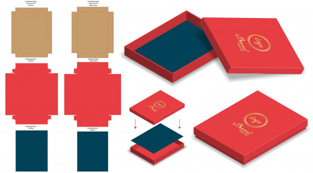 Red color cardboard mockup box.