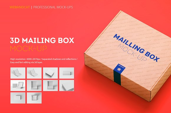 Red colored background cardboard mockup box.