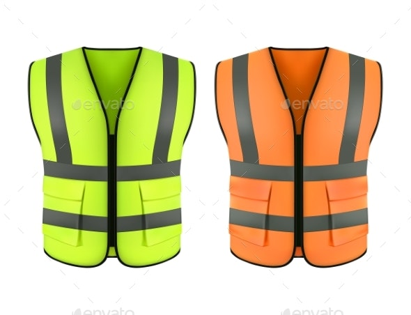 Reflective Orange Vest and Green Construction Jacket