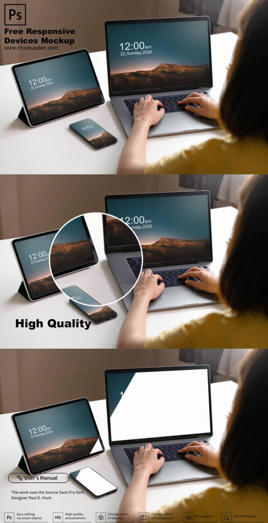 Free Responsive Devices Mockup PSD Template