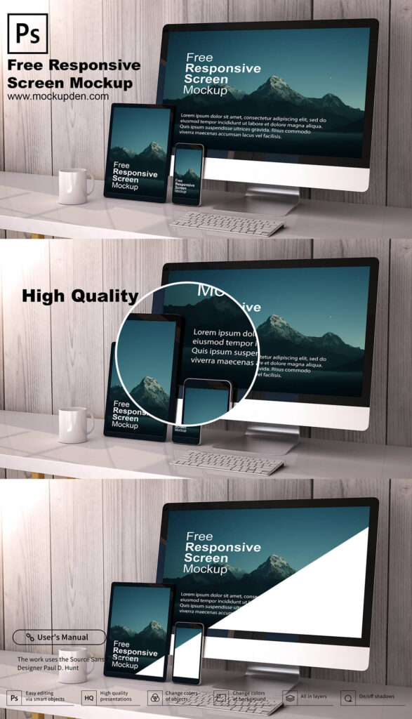 Free Responsive Screen Mockup PSD Template