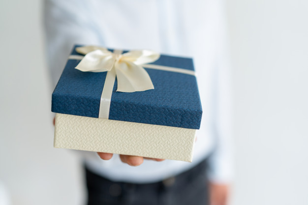 Ribbon Tied Gift Box Mockup