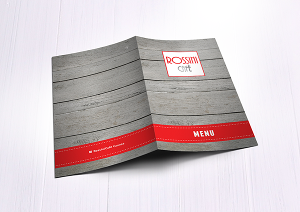 Rossini Cafe Menu Card Template Design