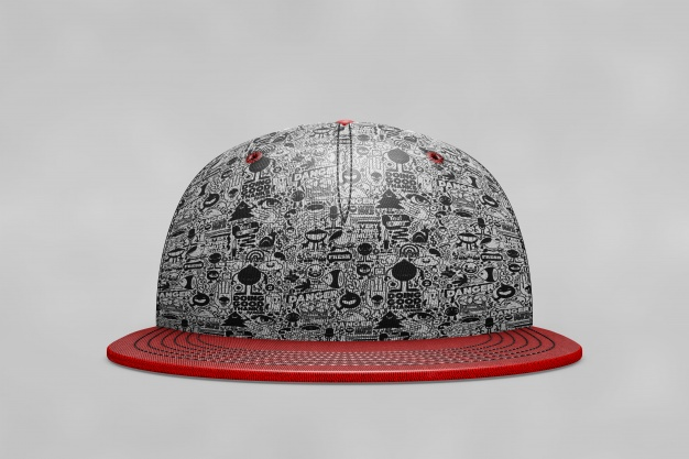 Round Abstract Print Baseball Hat Mockup