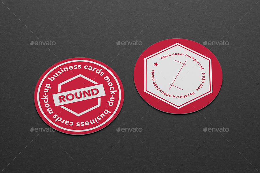 Round business cards mock-up